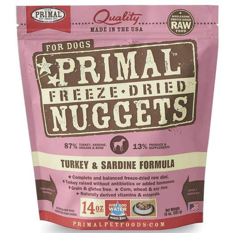 Primal Freeze-dried Turkey & Sardine Dog Food 14oz