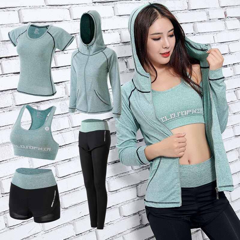 Womens Yoga Sets Five 5 Pieces Set Training Sports Sets Female Workout Clothes for Women Sportswear Gym Training Clothing S-3XL
