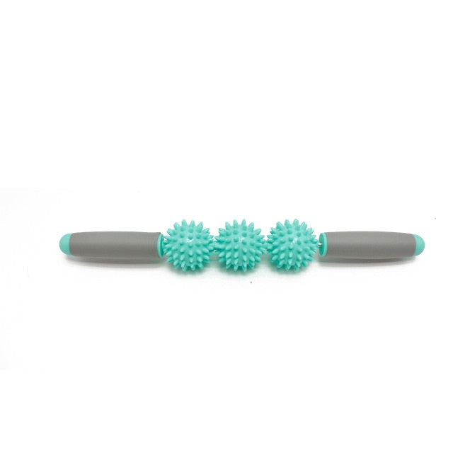 Gym Muscle Massage Roller Yoga Stick Body Massage Relax Tool Muscle Roller Sticks with 3 Point Spiky Ball