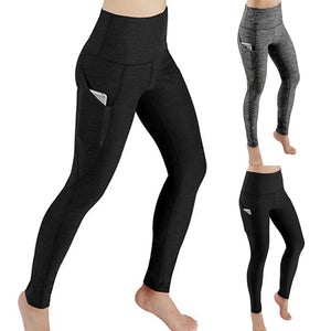 New Fashion Yoga Pants Women Workout Out Pocket Leggings Fitness Sports Gym Running Yoga Elastic Waist Pants legging sport femme