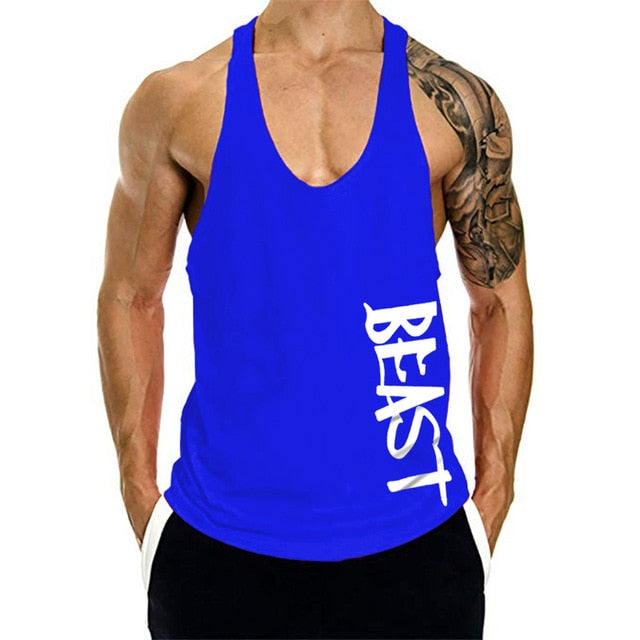 Summer 2019 Men Tank Top Gym Clothing Ropa Hombre Bodybuilding Letter Print Tank Top Fitness Mens Tank Top Shirt Musculation