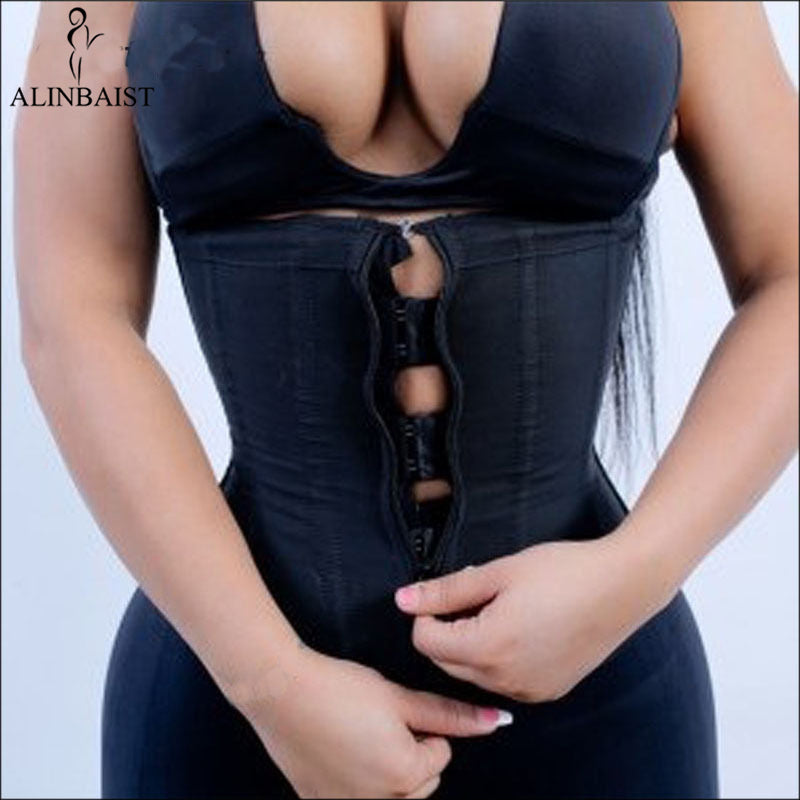 Women Latex Waist Trainer Body Shaper Corsets with Zipper Hot Cincher Corset Top Slimming Belt Black Shapers Shapewear Plus Size