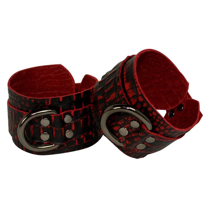 Red Crocodile embossed Leather Cuffs