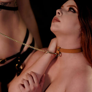 Dee Bondage Collar Tan-Gold
