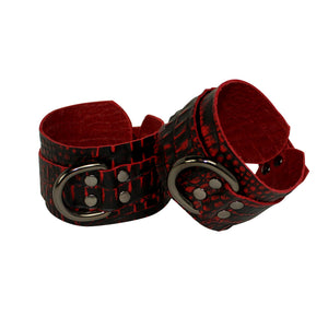 Red Crocodile Embossed Leather Collar and Cuff Set