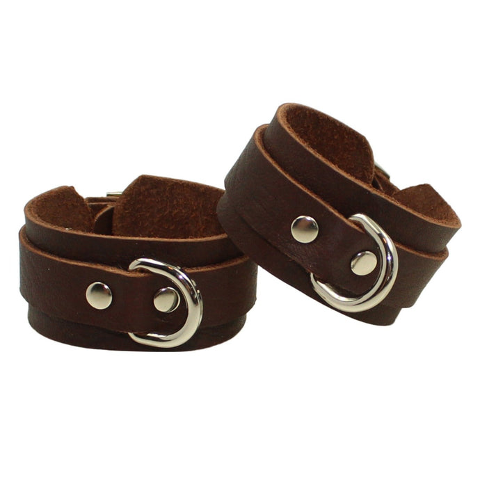 Leather Cuffs Brown-Silver Handmade in Australia