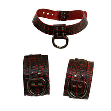 Load image into Gallery viewer, Red Crocodile Embossed Leather Collar and Cuff Set