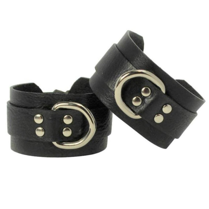 Statement Leather Cuffs Black-Silver Handmade in Australia