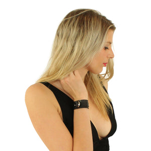 Slimline Leather Cuffs Black-Silver