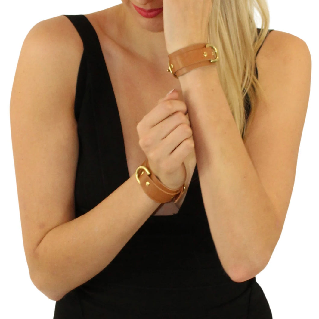 Slimline Beige Leather & Gold Cuffs