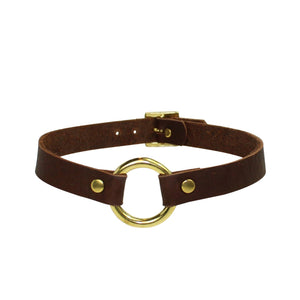 Bondage O Collar Brown-Gold