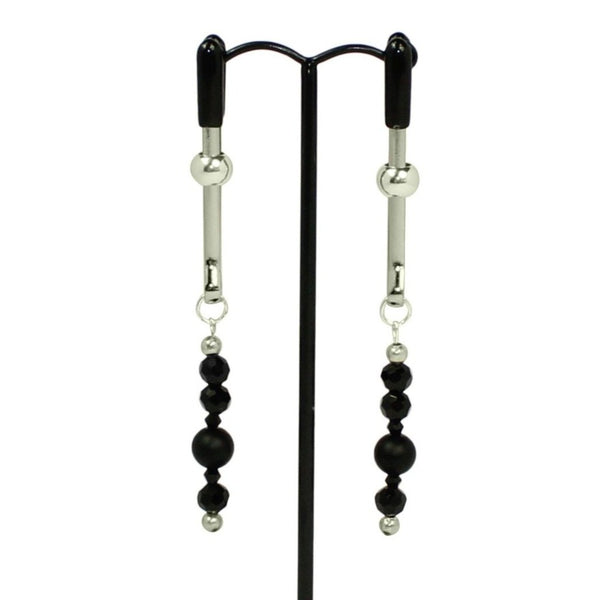Nipple Clamp Earrings, Onyx & Silver