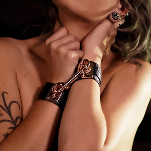 Leather Cuffs Black-Rose Gold Handmade in Australia