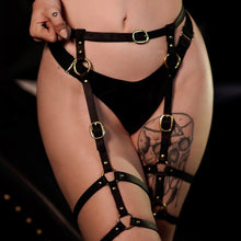 Load image into Gallery viewer, Leather Leg Harness Gold