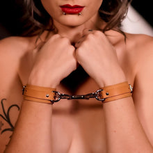 Load image into Gallery viewer, Slimline Beige & Silver Leather Cuffs