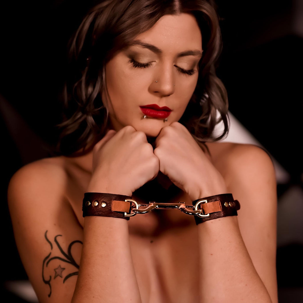 Bondage Leather Cuffs  Brown - Gold