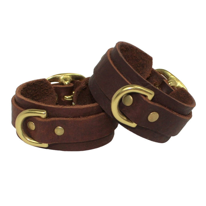 Leather Cuffs Brown-Gold Handmade in Australia