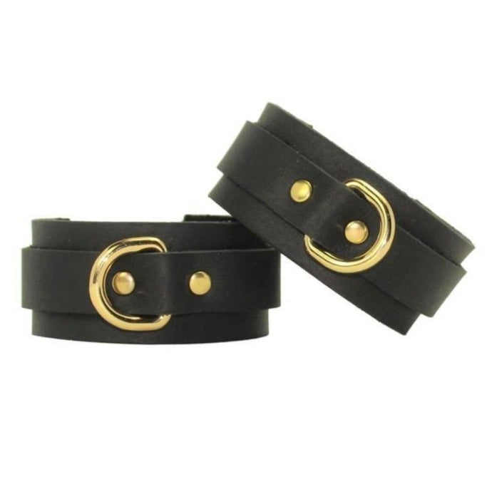 Slimline Leather Cuffs Black-Gold Handmade in Australia