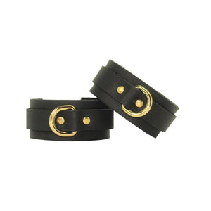 Slimline Bondage Leather Cuffs Black-Gold