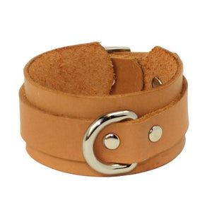 Slimline Leather Cuffs Tan-Silver
