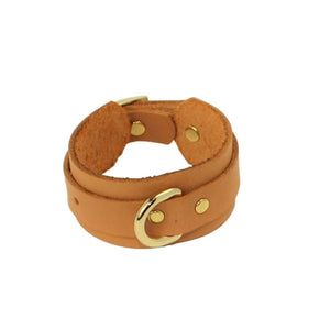 Slimline Bondage Leather Cuffs Tan-Gold