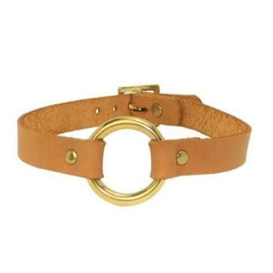 O Ring Bondage Collar Tan-Gold