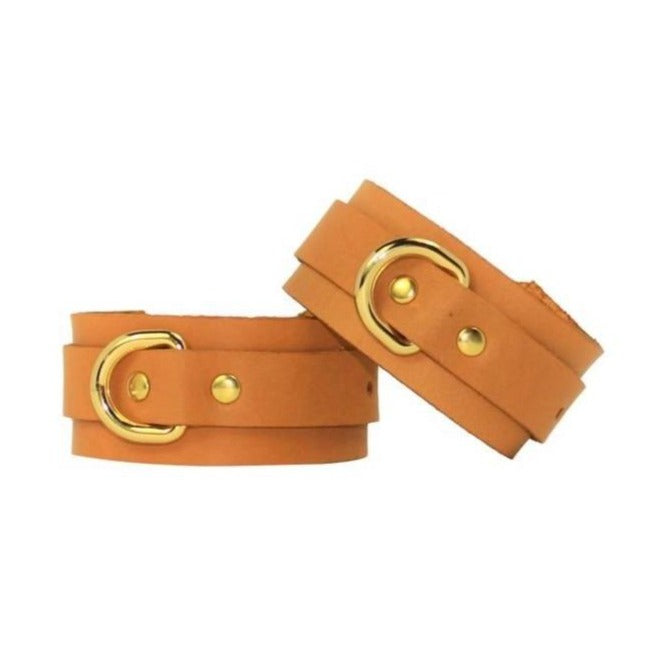 Slimline Leather Cuffs Tan-Gold Handmade in Australia