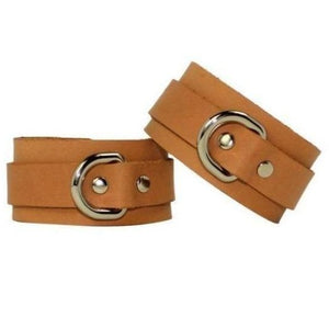 Slimline Beige & Silver Leather Cuffs