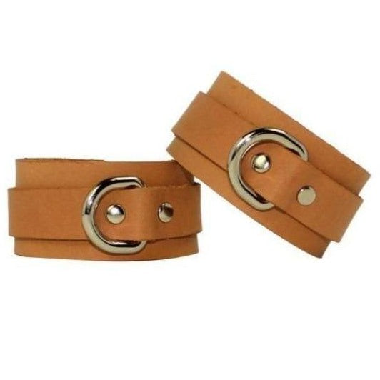Slimline Leather Cuffs Tan-Silver Handmade in Australia