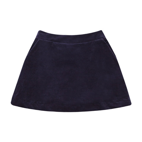 Velvet A-line skirt in brilliant blue