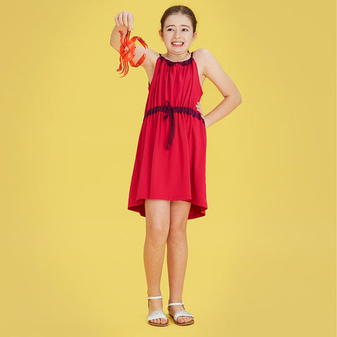 Girls' contrast jersey dress in raspberry and pink