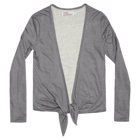 Reversible ballet wrap cardigan in cool greys