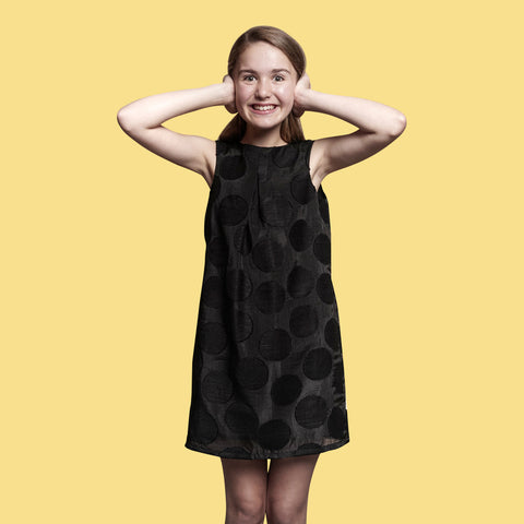 Large spot shift dress in black