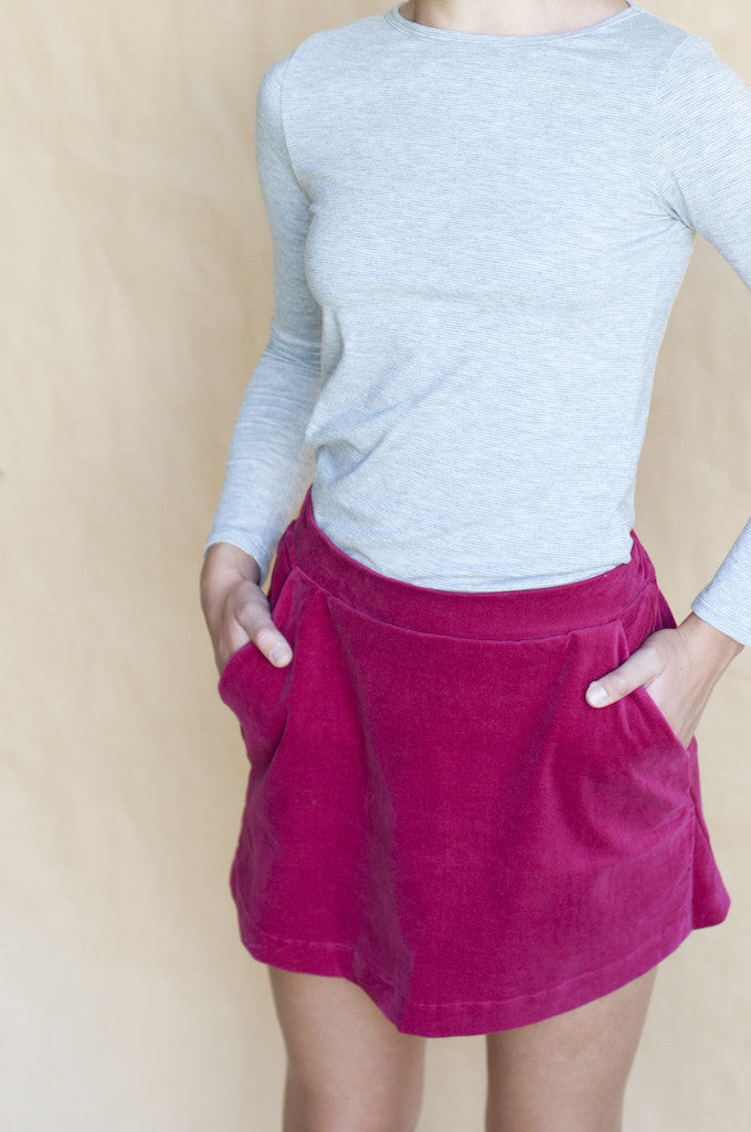 Velvet A-line skirt in cherry