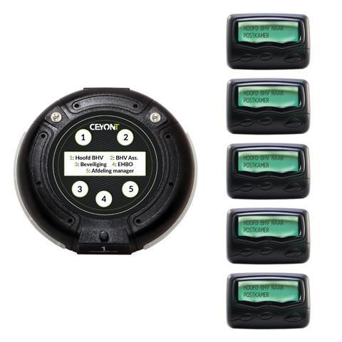 5 Button Call Unit & 5 Text Pagers A4