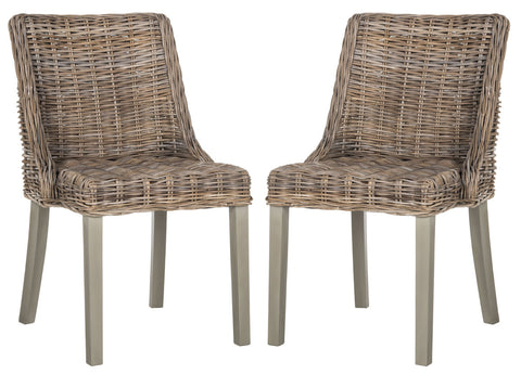 CAPRICE 18''H WICKER DINING CHAIR WITH LEATHER HANDLE