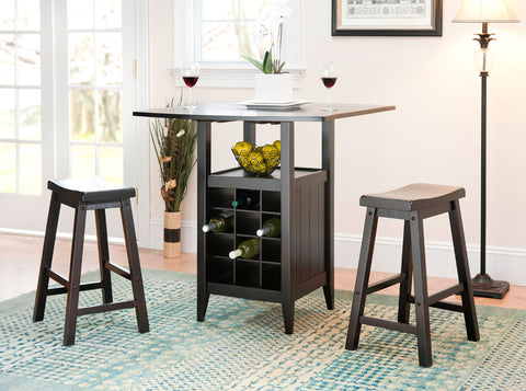 EMERIC 3 PC SET DROP LEAF PUB TABLE