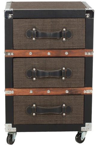 LEWIS THREE DRAWER ROLLING CHEST/BLACK-BROWN-SILVER