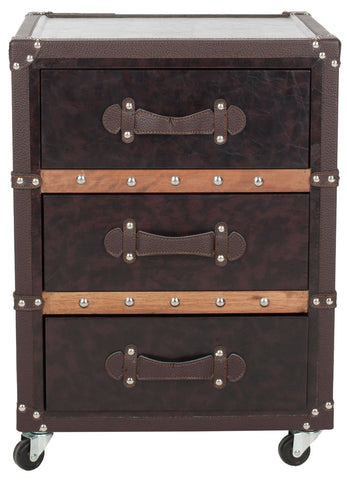 NORMAN THREE DRAWER ROLLING CHEST/BLACK-BROWN