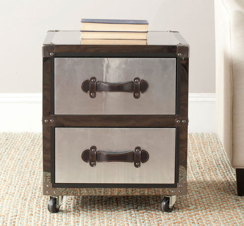 GAGE TWO DRAWER ROLLING CHEST/BLACK-SILVER