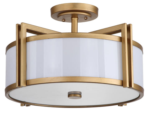 DARK GREY 3 LIGHT ANTIQUE GOLD 17-INCH DIA SEMI FLUSH