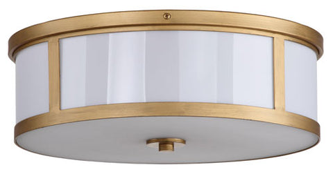 AVERY 2 LIGHT ANTIQUE GOLD 17-INCH DIA DRUM FLUSH MOUNT