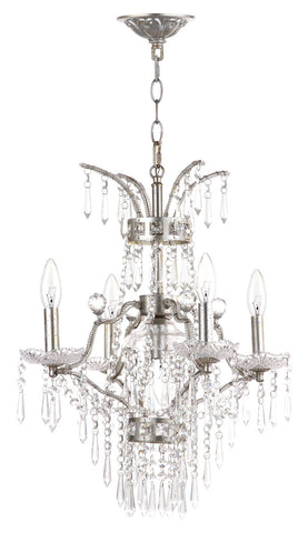 MICHELLE 5 LIGHT BEADED 17.75-INCH DIA ADJUSTABLE CHANDELIER