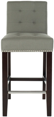 "THOMPSON 23.9"" LINEN COUNTER STOOL W/ SILVER NAILHEADS"