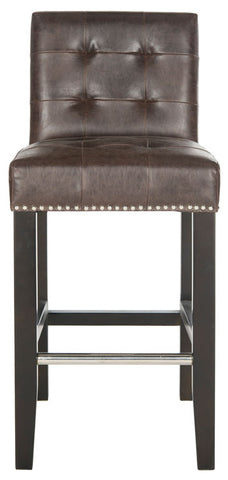 "THOMPSON 23.9"" LEATHER COUNTER STOOL W/ SILVER NAILHEADS"