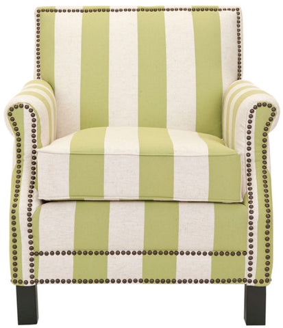 EASTON CLUB CHAIR WITH STRIPES - BRASS NAIL HEADS