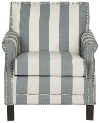EASTON CLUB CHAIR WITH AWNING STRIPES - SILVER NAIL HEADS