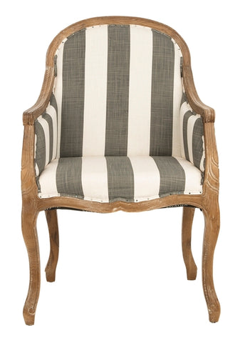 ESTHER ARM CHAIR WITH AWNING STRIPES - FLAT BLACK NAIL HEADS