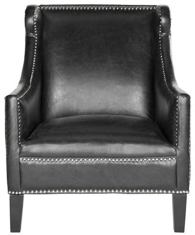 MCKINLEY LEATHER CLUB CHAIR - SILVER NAIL HEADS