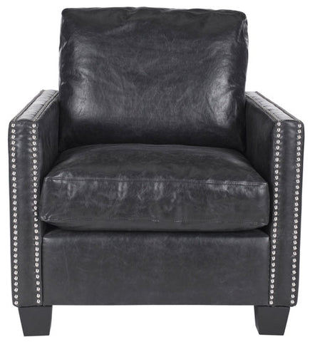 HORACE LEATHER CLUB CHAIR - SILVER NAIL HEADS